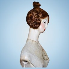 Antique Doll Half Doll Signed Gorgeous Boudoir Doll