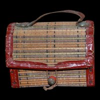 Antique straw and wood rare picnic basket for doll