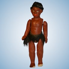 Rare composition black little doll 1900