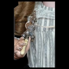 Rare 1870 polichinelle silver baby Rattle whistle