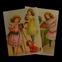 Rare big size pair of playing child lithograph circa 1900with lovely colors