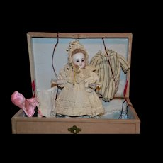 "Exceptional 7 1/2"" All Bisque Mignonette in all Original Condition with her presentation box"