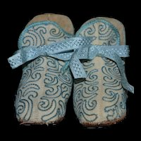French 1880/1890 lovely booties slipper for your big doll