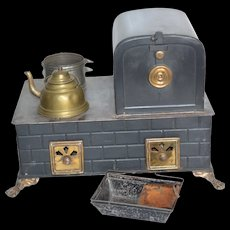 German tinplate stove with warming oven
