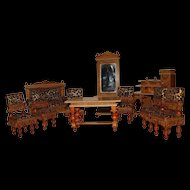 10 pieces antique German doll house furnitures