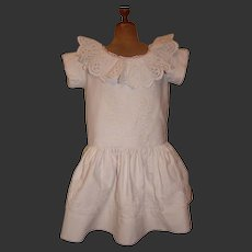 Beautiful 1875 pique dress with soutache trim for a large doll