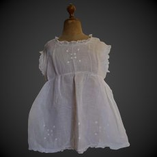 Embroidered cotton muslin vintage dress for a big doll
