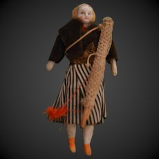 Theater tiny doll bisque shoulder head the fisherwoman