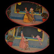 2 Oval cardboards ornamental art deco