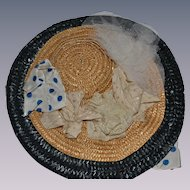 Woven straw hat for doll