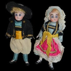 Pair of brittany all bisque doll for the french market 1890