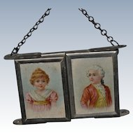 Small portable triptych mirror circa 1880/1900