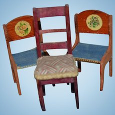 3 LIttle antique chairs for your doll's house