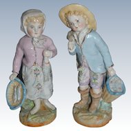 Charming fisherman , and fisherwoman  in German porcelain
