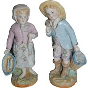Charming fisherman , and fisherwoman  in German porcelain