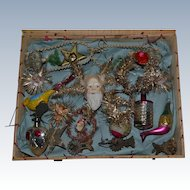 Rare original box  of antique victorian christmas ornaments from France