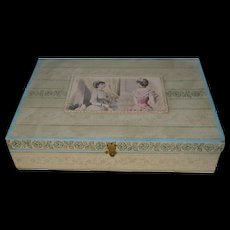 Lovely presentation box, embroidery box 1880 for child from france