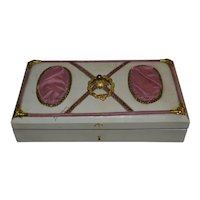 1880 Lovely cream candy box with pink satin