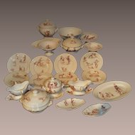 Wonderful rare Luneville French dinner set with Grandville scenes