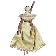 Lovely tiny Grodnertal doll from 1830/1850