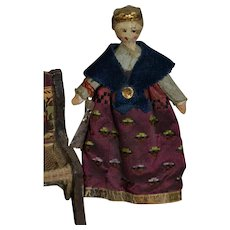 Charming 1830/1860 peg wooden doll for you dollhouse