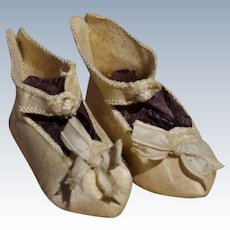 Rare cream silk  French shoes for your doll