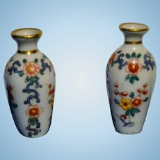 French pair of enameled porcelain vase for your dollhouse