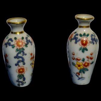 French pair of enameled porcelain vase for your dollhouse