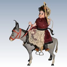 Fabulous set the little all bisque doll and her donkey
