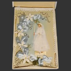 1890/1900 French celluloid card souvenir first communion