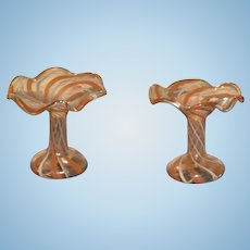 Swirl blow  pair of  glass vase for your doll house