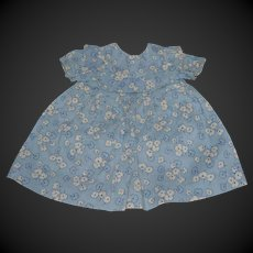 Nice flowered cotton blue dress for your doll