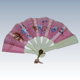 Original antique fan for fashion doll