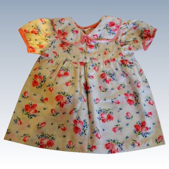 Nice flowered cotton  dress for your doll