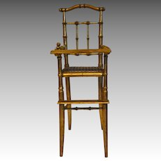 Elegant gilded French faux bamboo chair