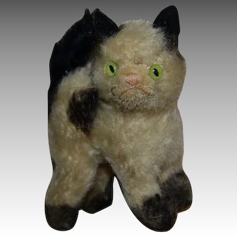 Tiny steiff cat in white and black mohair circa 1940/1950