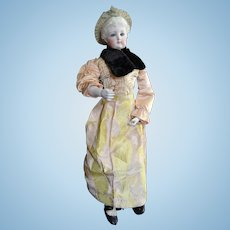 Outstanding fashion doll by FG with her all original luxury kid covered wooden body