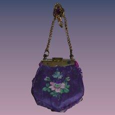Wonderful antique painted silk purse for fashion doll