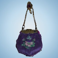 Wonderful antique painted silk purse for fashion doll