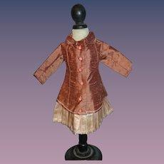 Elegant silk jacket dress for your cabinet size doll