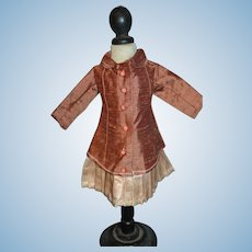 Elegant silk jacket dress for your cabinet size doll