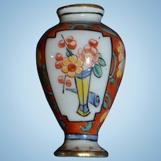 French antique little hand painted vase for doll's house