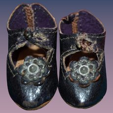 Rare antique French bebe shoes for cabinet size doll