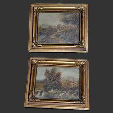 1910/1920 Rare 2 miniatures oil painting for your doll's house