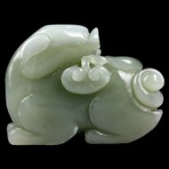 Superb large Chinese celadon jade carving lion!