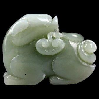 Superb large Chinese celadon jade carving lion!