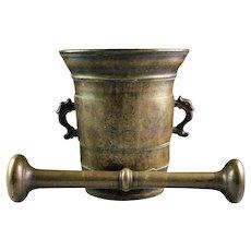Monumental 17th. century Italian bronze mortar w pestle!