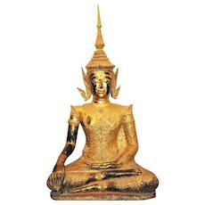 A Lifesize Thai bronze Buddha, Bangkok style, late 19th. century