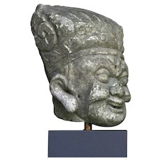 Lovely large Chinese stonehead of a laughing deity
