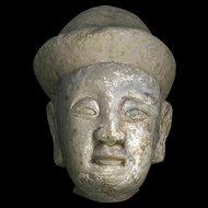 Lifesize Yuan-Ming Dynasty Chinese stone head - rare!